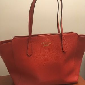 Preowned Gucci Swing Orange Red Leather  Medium